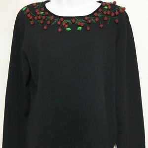 Berek Ugly Christmas Sweater Black Green Ivy & Red